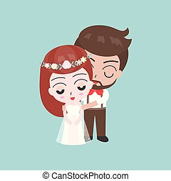 Groom and shy bride cute characters for use as wedding invitation card or backdrop