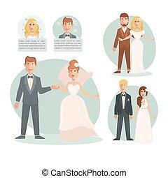 Groom bride wedding vector illustration template
