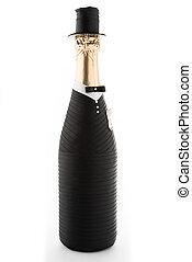 Groom. Champagne wedding bottle isolated on white