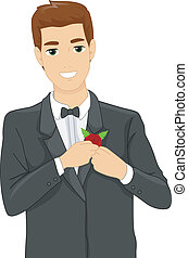 Illustration of a Groom Putting a Corsage on His Suit