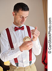 groom dress shirt on the morning