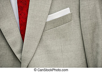 Groom gray suit with red tie