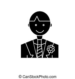groom  icon, vector illustration, sign on isolated background