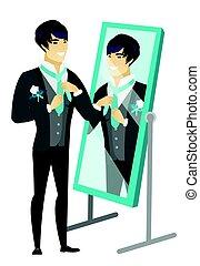 man looking in mirror drawing. groom looking in the mirror and adjusting tie. man drawing