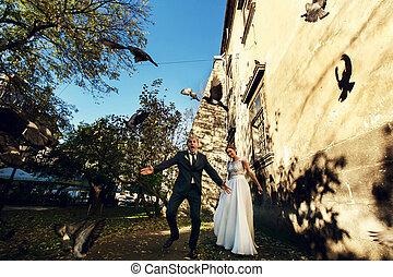 Groom looks funny dispersing the pigeons