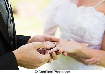Groom placing ring on brides finger - Closeup of groom...