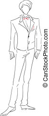 Groom sketch - The vector image with the symbolical...