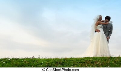 groom takes bride on hands and carries away it on meadow against sky