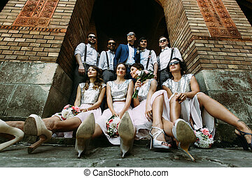 Groom with his friends and bridesmaids