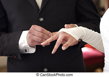 Groom with wedding ring