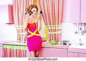 groomed girl - Pretty woman doing makeup on her glamorous ...