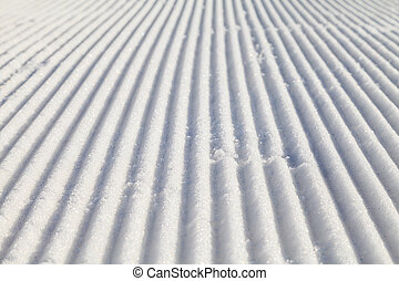 Groomed ski slope - Closeup photo of a prepared ski slope