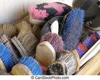 Grooming brushes - A box full of grooming brushes and curry...