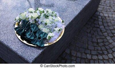 Groom's morning. Wedding accessories. Butterfly-tie, wedding...