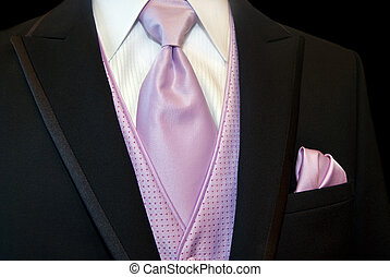 Groomsman - Pink tie and handkerchief accessory for tuxedo.