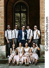 groomsmen, palefrenier, voûte, demoiselles honneur