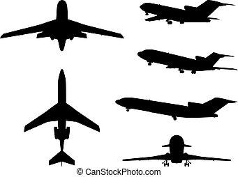 groot, anders, vliegtuig, verzameling, silhouettes.