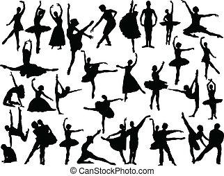 groot, ballet, verzameling, -, vector