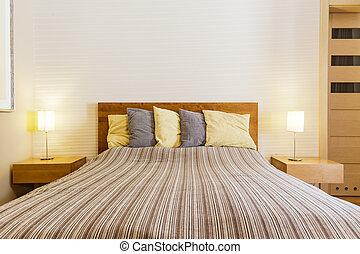 Roze, geitjes, meiden, bed, groot, beige, slaapkamer. Mooi,... beeld ...