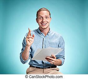 groot, bladen, idee, papier, student, vasthouden, het...