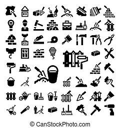 groot, bouwsector, en, herstelling, iconen, set