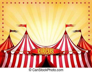 groot bovenst, circus, achtergrond, met, spandoek
