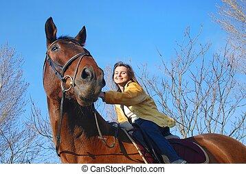 groot, browm, vrouw, paardrijden
