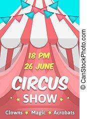 groot, circus, aankondiging, poster