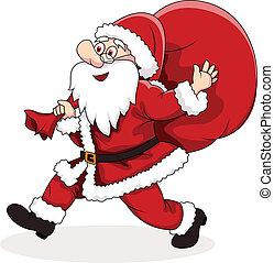 groot, claus, verdragend, kerstman, zak
