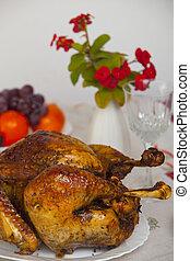 groot, dankviering kalkoen, op, de, diner tafel