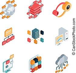 groot, data, analyse, iconen