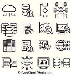 groot, data, data, analyse, computer, en, wolk, gegevensverwerking, lijn, iconen