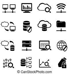 groot, data, en, wolk, gegevensverwerking, pictogram, set