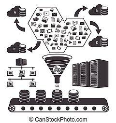 groot, data, iconen, set, wolk, gegevensverwerking