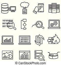 groot, data, machine, leren, en, data, analyse, lijn, iconen