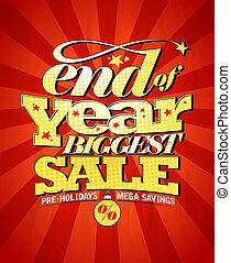 groot, design., einde, verkoop, jaar