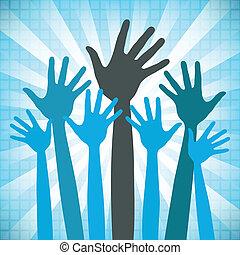 groot, design., vrolijke , groep, handen