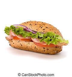 groot, eetlustopwekkend, snel voedsel, baguette sandwich, met, sla, tomaat, hesp, en kaas, vrijstaand, op wit, achtergrond., junk etenswaar, subway.