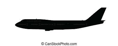 groot, enkel, silhouette, vliegtuig