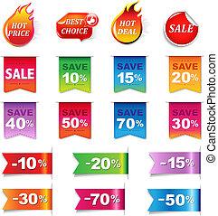 groot, etiketten, set, verkoop, kleurrijke