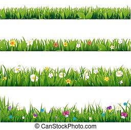 groot, frame, bloemen, set