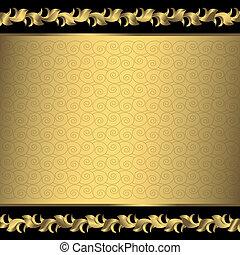 groot, frame, ouderwetse , (vector), gouden