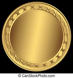 groot, frame, ronde, (vector), gouden