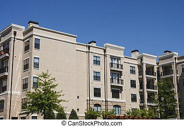 groot gebouw, rijhuis, beige, stucco