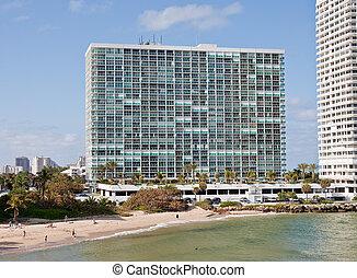 groot gebouw, witte , rijhuis, kust
