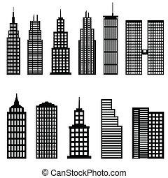 groot, gebouwen, en, wolkenkrabbers