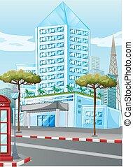 groot, gebouwen, in de stad
