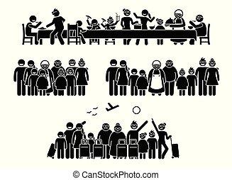 groot, gezin, en, familie, hereniging, bijeenkomst, en, activities.