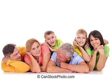 groot, gezin, het liggen