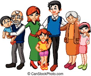 groot, gezin, samen
